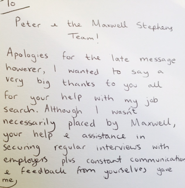 Maxwell Stephens Team were recommended by a recent candidate